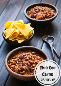 Chili Con Carne - DF/GF/FF: Adjust the spice to your liking, easy weekday meal to have handy to pull out of the freezer and reheat.