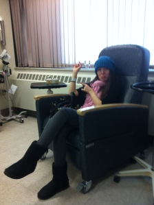 Here I am, pointin' at my hospital bracelet!
