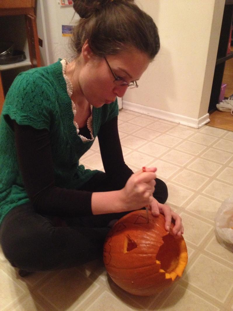Making my first EVER pumpkin cut!